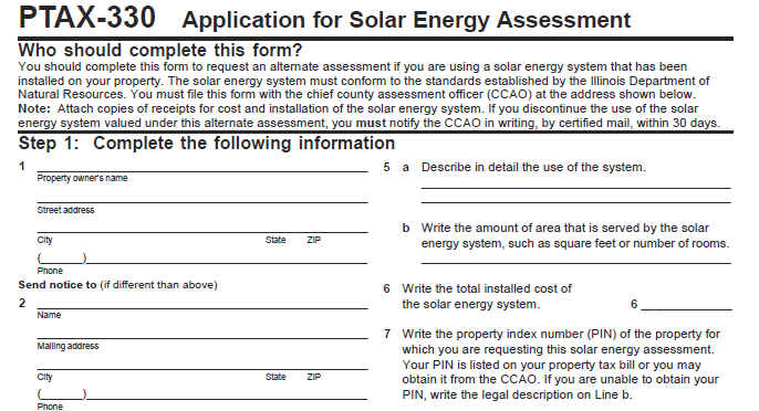 Avoid the solar property tax with Illinois PTAX-330