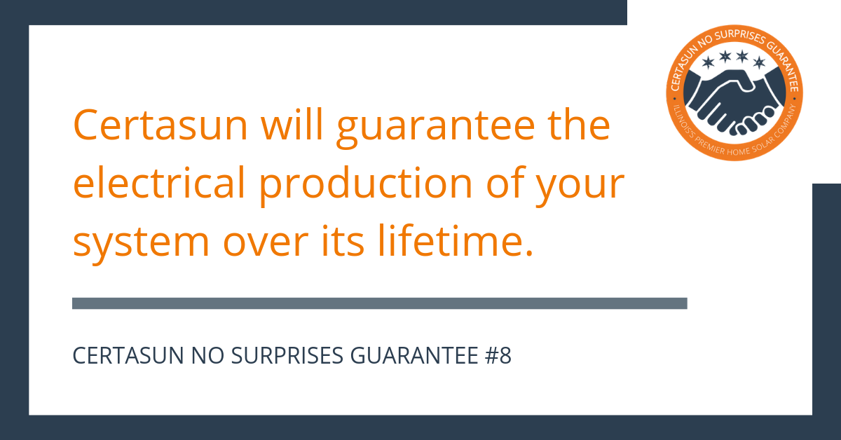 Certasun will guarantee the electrical production of your system over its lifetime. - Certasun No Surprises Guarantee #8